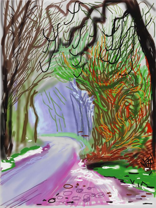IMAGE: David Hockney, The Arrival of Spring in Woldgate, East Yorkshire in 2011 (twenty eleven) - 1 January, 2011, iPad drawing printed on paper, 55 x 41 1/2 in. (139.7 x 105.4 cm), Framed: 58 3/4 x 45 1/4 in. (149.2 x 114.9 cm), Edition of 25. © David Hockney. Photo: Richard Schmidt