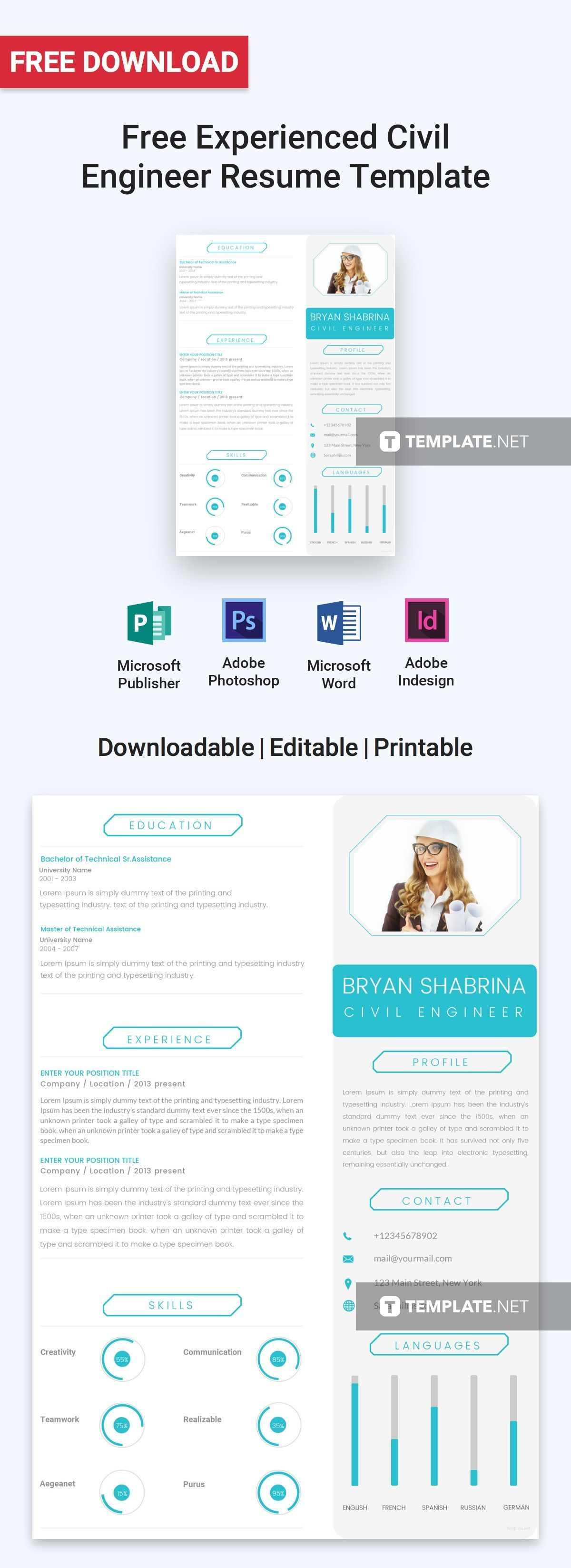 A modern resume template that you can download for free
