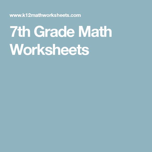 7th Grade Math Worksheets Better Education Pinterest Math