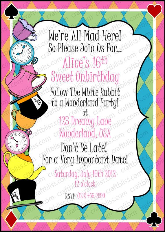 Pin By Melissa Chaumont On Alice In Wonderland Invitation Ideas Mad Hatter Tea Party Invitations Mad Hatter Tea Party Tea Party Invitation