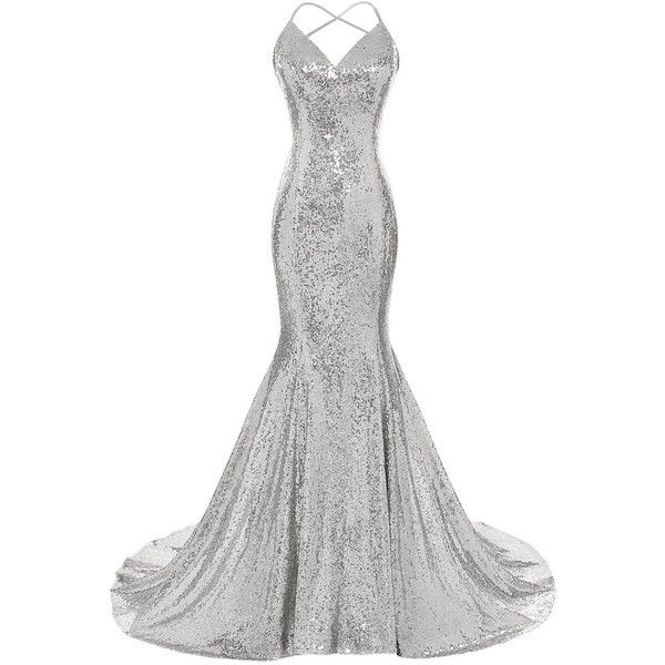d5de774b DYS Women's Sequins Mermaid Prom Dress Spaghetti Straps V Neck... ($99) ❤  liked on Polyvore featuring dresses, gowns, backless prom dresses, prom  gowns, ...