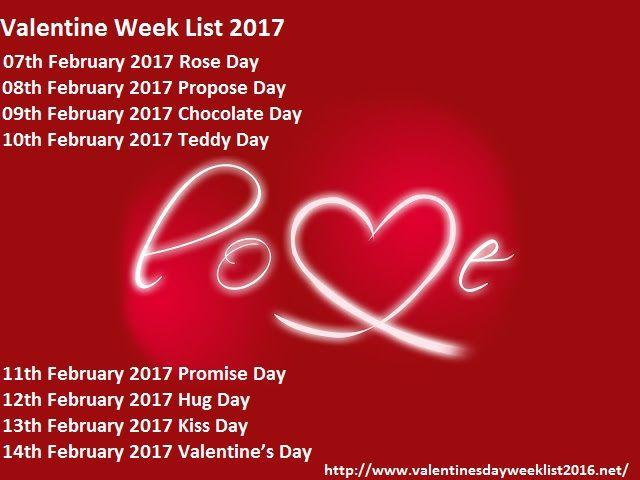 Valentines Week List 2017 Valentines Day Week List Pinterest