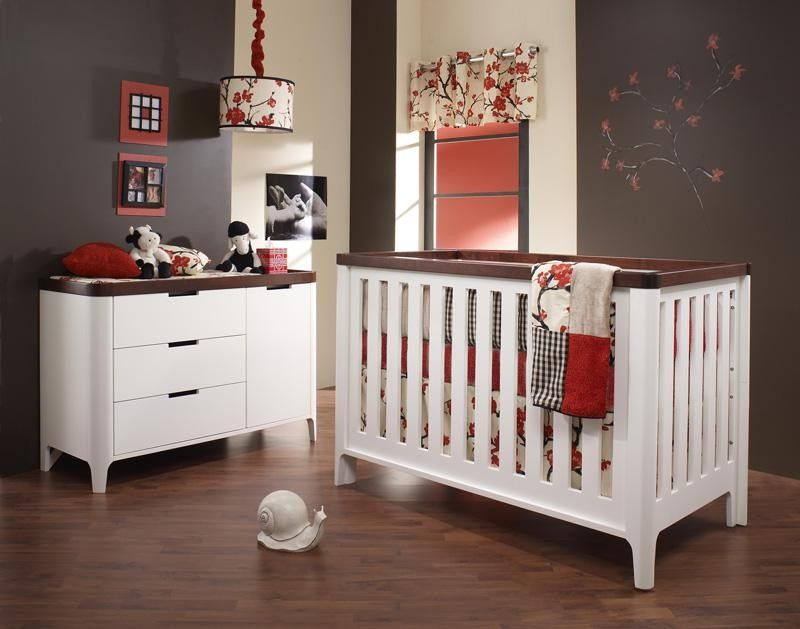 Bamboo Material Tulip Piccolo 2 Piece Nursery Set Crib And Combo Dresser In French White And Java Baby Furniture Convertible Crib Sets Baby Girl Room