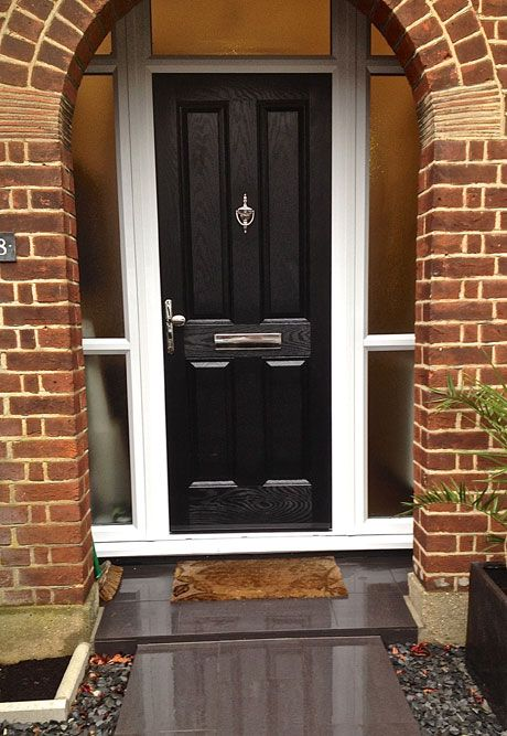 4 Panel Composite Front Door In Black Brown With Side Light And Top