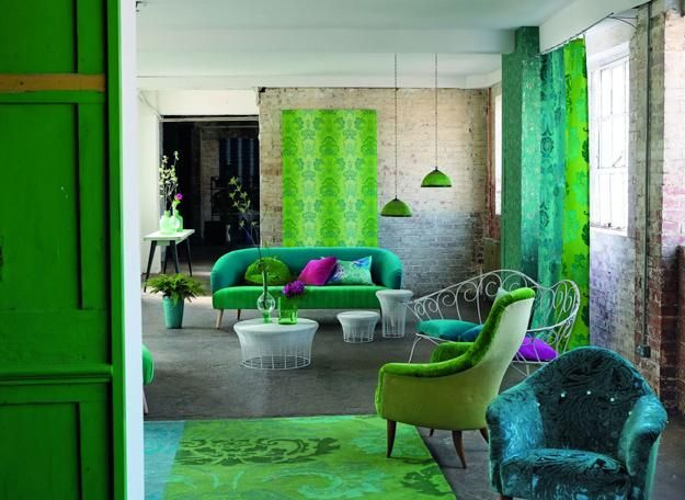 modern room decorating with beautiful wallpaper and home fabrics