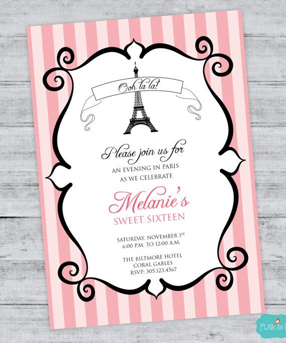 Parisian Birthday Invitation French Party Eiffel Tower Bridal