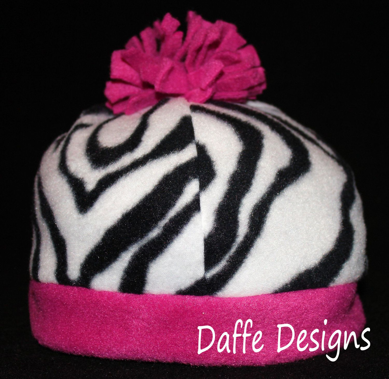 Zebra print and pink fleece winter hat via etsy daffe