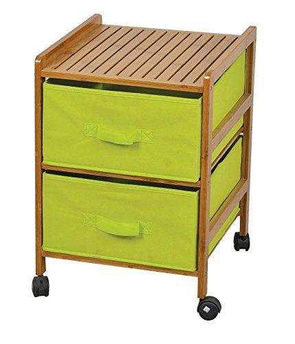 Badregal mit 2 grünen Stoff Schubladen - Bambus Holz Regalwagen - küchenwagen mit schubladen