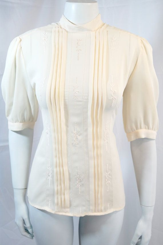 vintage | 80s beige ivory eyelet pleat dress blouse top