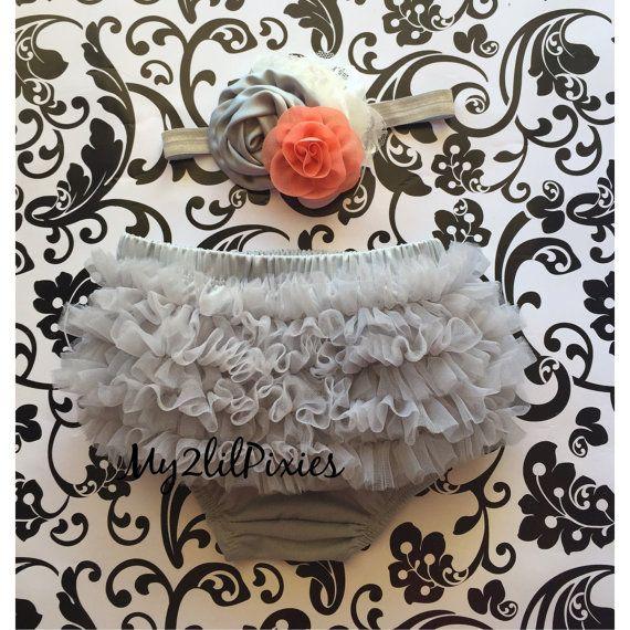 Baby Bloomer and Headband Set- Ruffle Bum Baby Bloomer, Grey tutu bum bloomer, grey , cream and coral baby headband, ruffle bloomer set