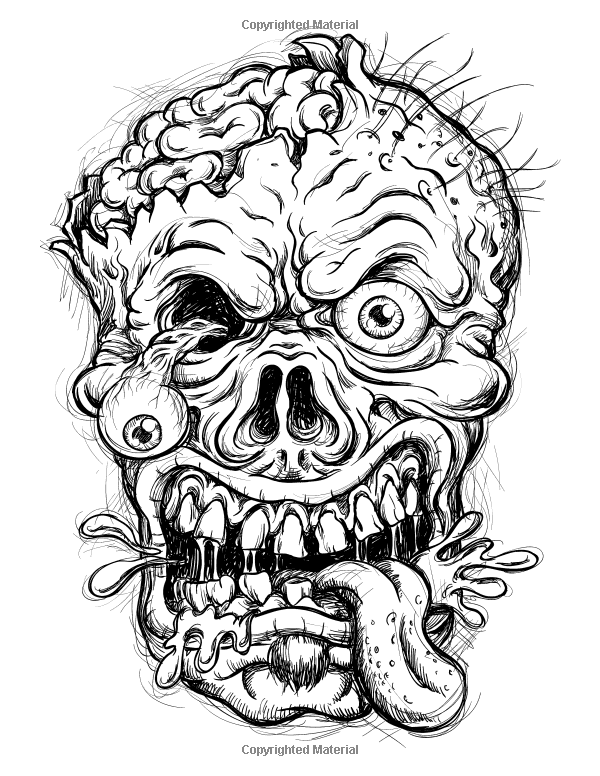 Robot Check Skull Coloring Pages Zombie Drawings Zombie Head