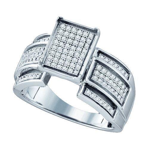 925 WP 0.38Ctw Diamond Micro Pave Ring
