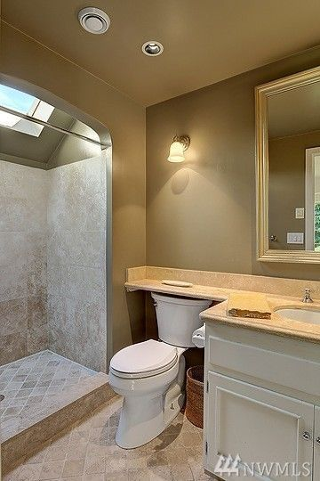 nice use of skylight in shower, interesting counter extension over ...