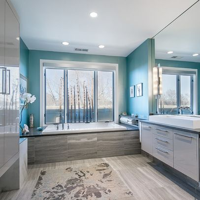 Aqua Walls With Grey Stone Around Tile On Floors The Colors I Want To Use In The Kitchen Bathroom Interior Design Turquoise Bathroom Modern Bathroom Design