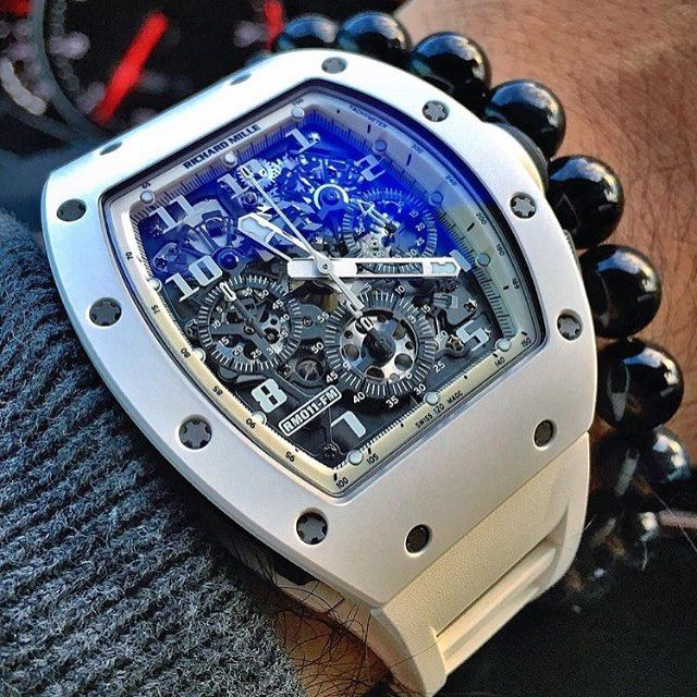 """Buddy @youcanneverhaveenough is feeling a ghostly presence with the limited edition Richard Mille RM011 """"White Ghost"""" on the wrist. 