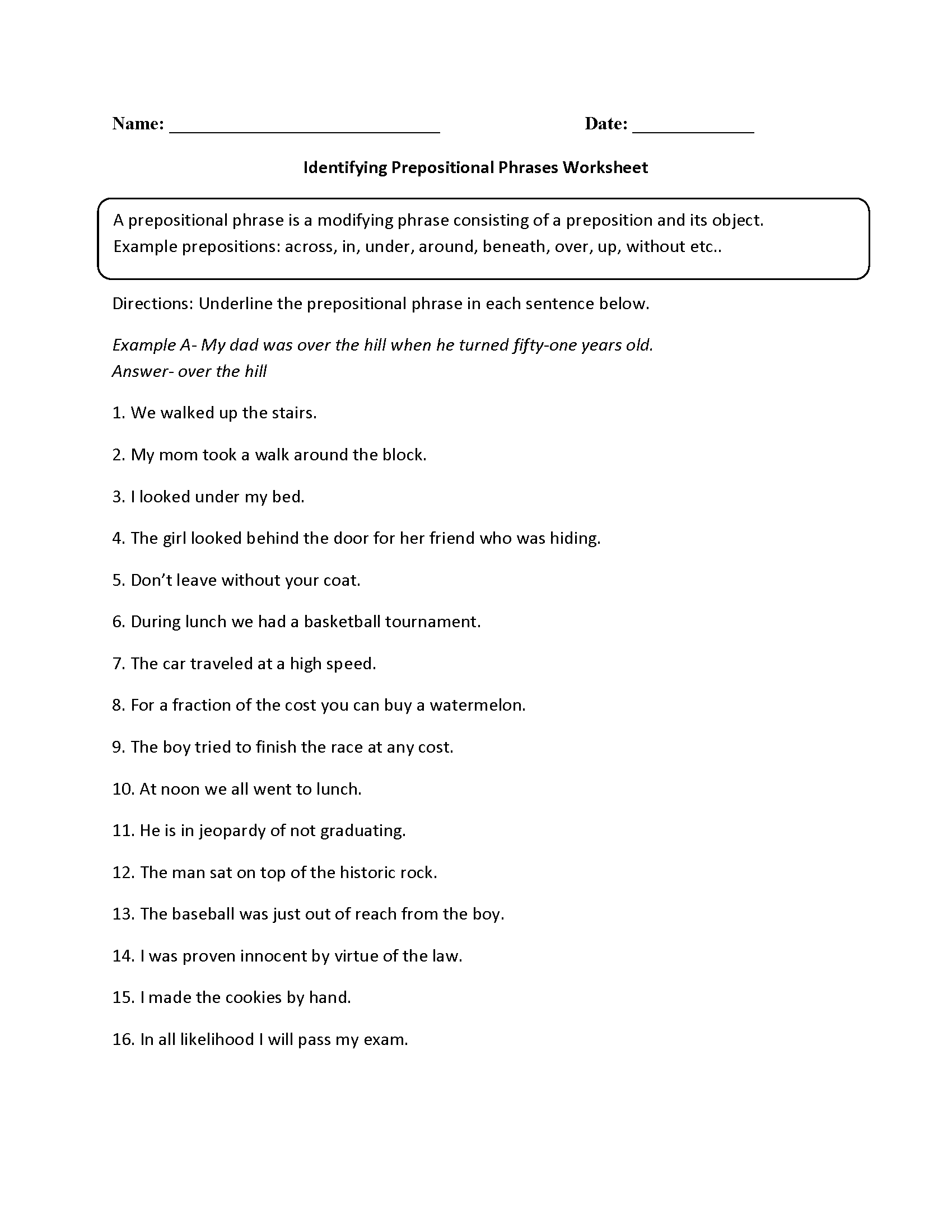 Identifying Prepositional Phrases Worksheet With Images