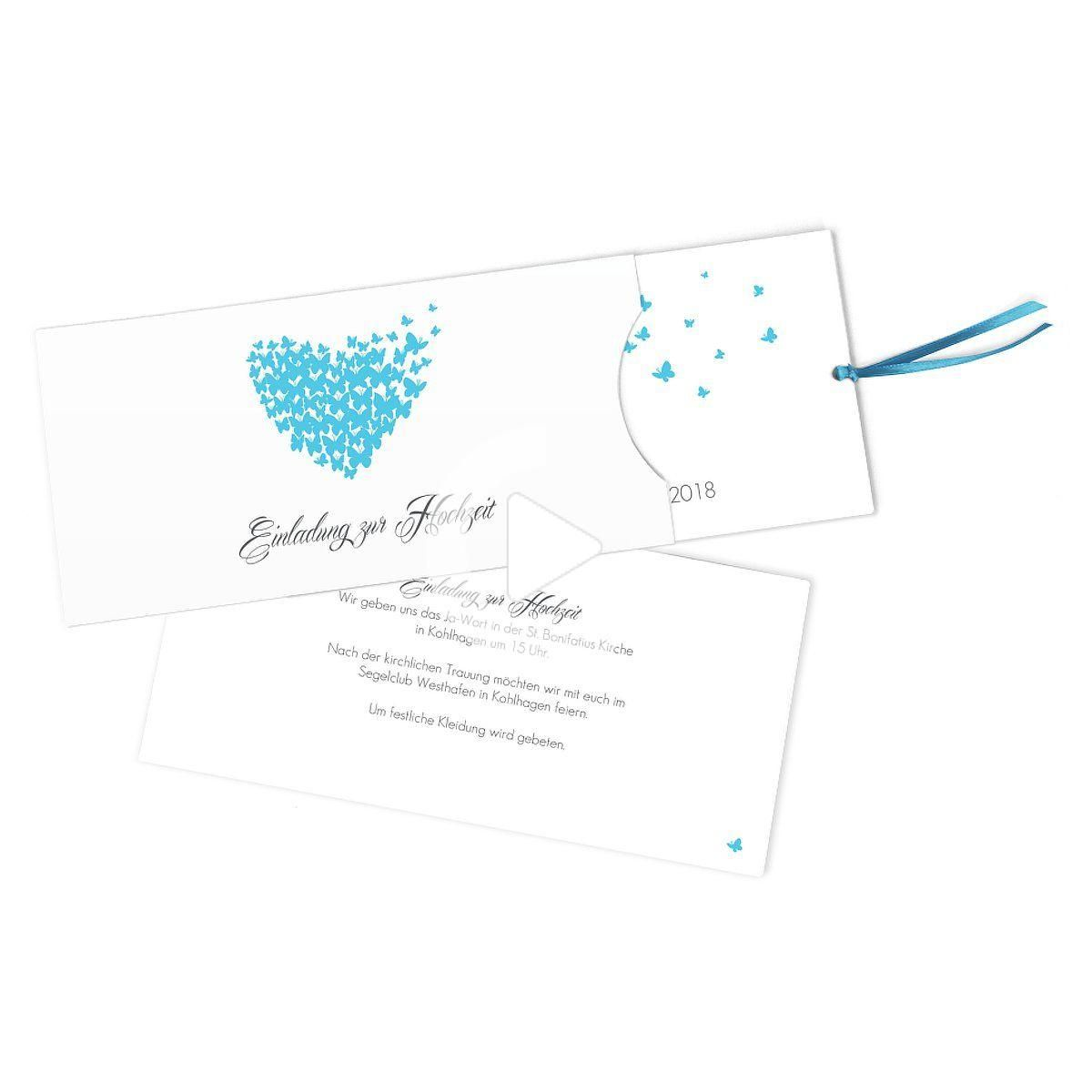 """Invito a nozze """"Farfalle"""", turchese, cartoncino lungo con nastro per lavorazione (213 x 105 mm), 5"""