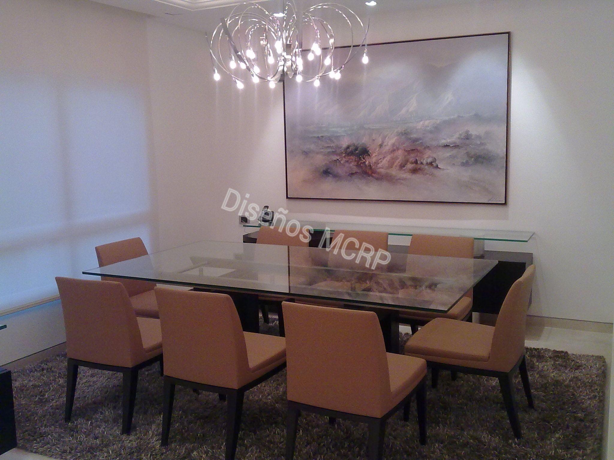Mueble de Diseño, Comedor, base en Wengue y Acero, Tope en Cristal ...