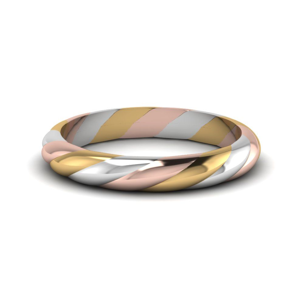 Tri Tone Twisted Rope Women Band Womens Wedding Bandsgold