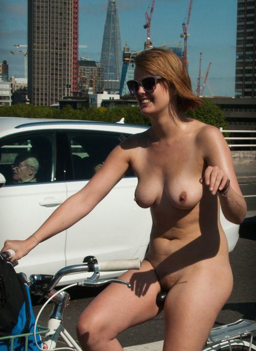 In public Nude biker girls