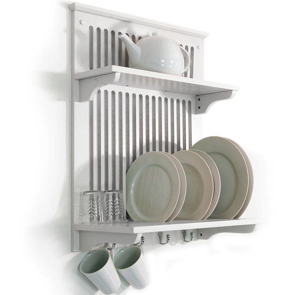 NOVEL - Escurridor de platos de pared - color blanco: Amazon.es ...