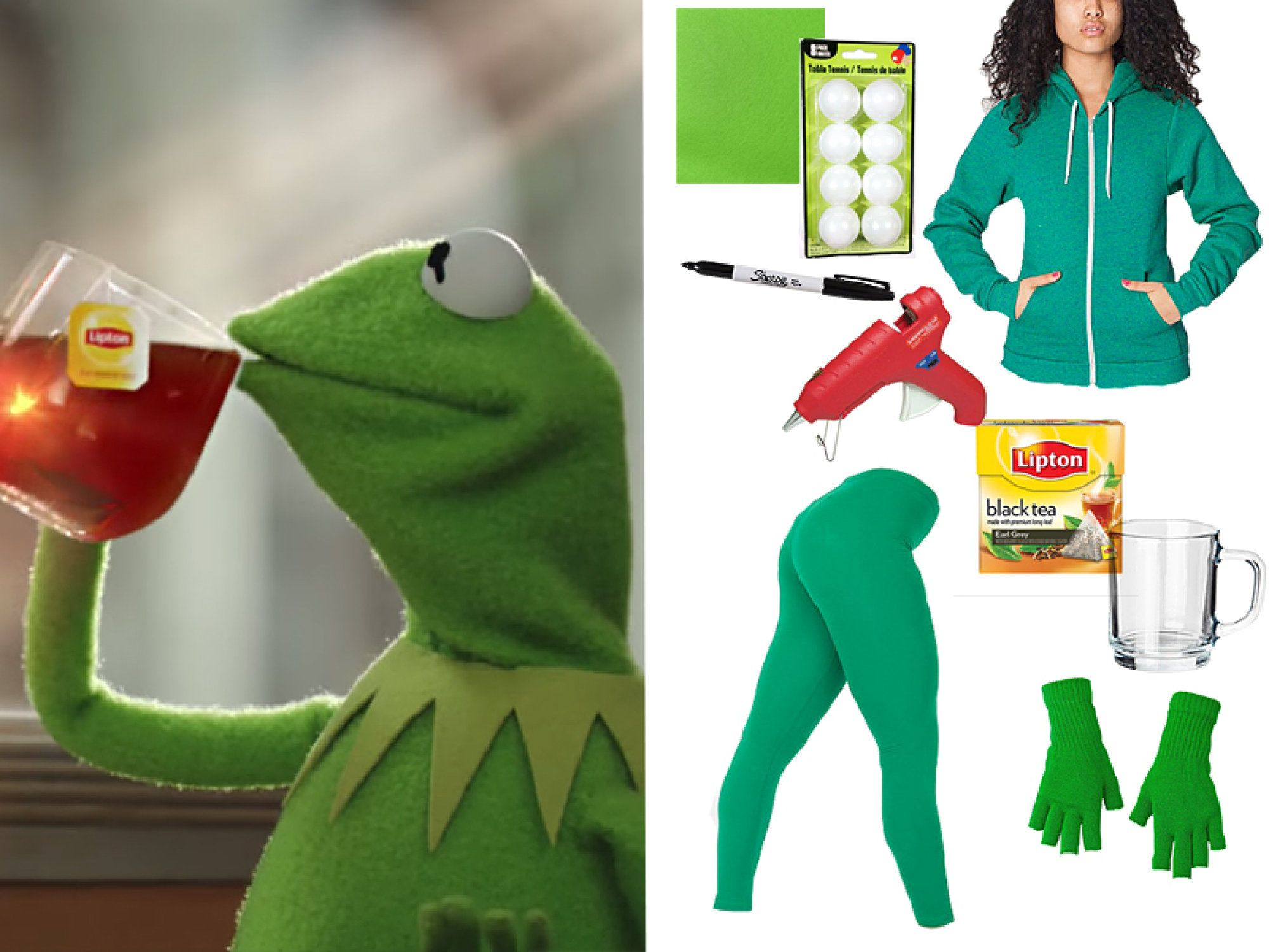heres the truth tea kermit meme costume you need for