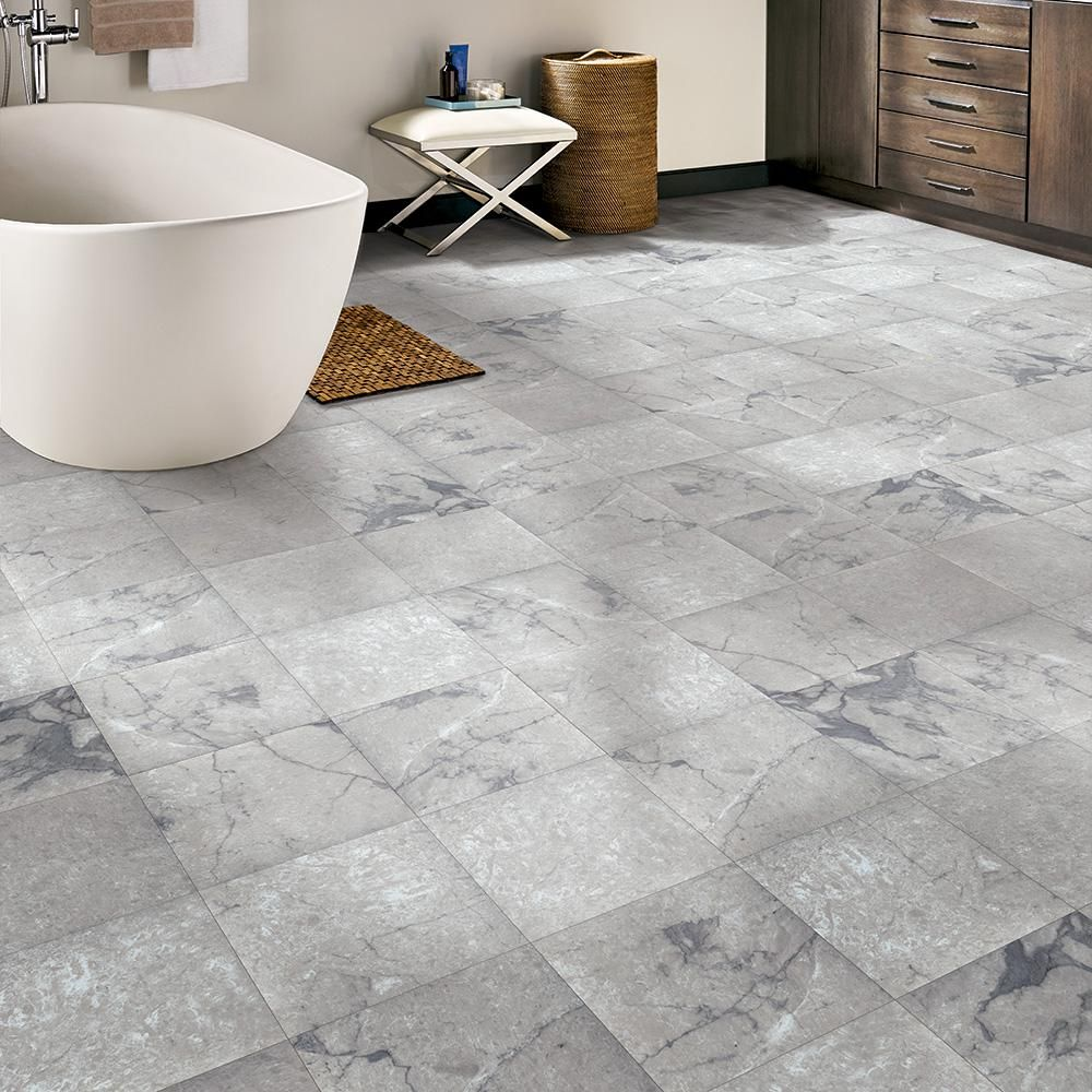 Trafficmaster Grey Marble 12 In Width X 12 In Length X 0 080 In Thick Peel And Stick Vinyl Tile 30 Sq Ft Car Vinyl Tile Peel And Stick Vinyl Tile Floor