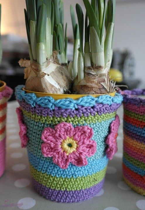 crochet container plant | Crochet Flower Pot Cozy & Hanging Plant ...