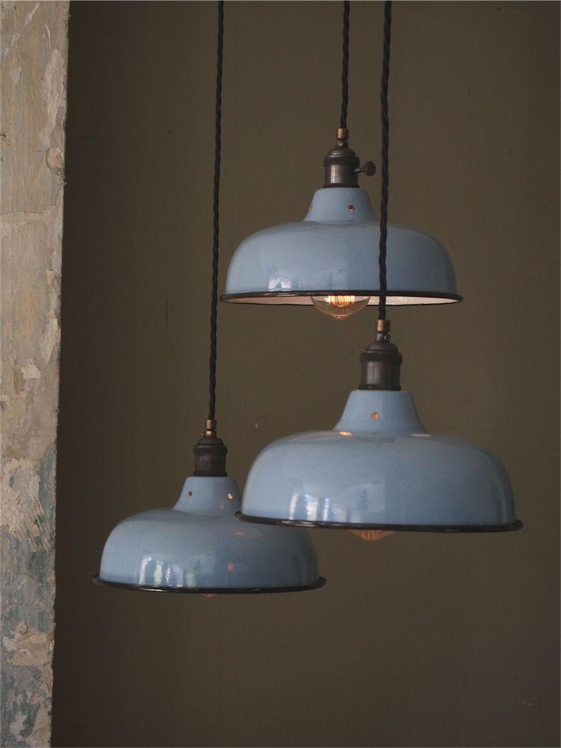 abat jour emaille lampe industrielle bleu ciel  lampe