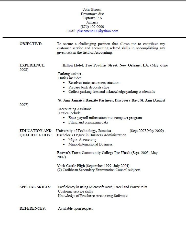 Jamaica Resume Sample Free Resume Sample Sample Resume Templates Resume Writing Examples Resume Writing Templates