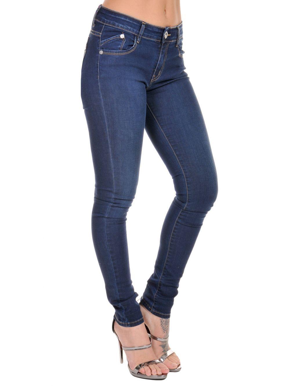 9cce3d953e09 SEI Γυναικείο σκούρο μπλέ ελαστικό χαμηλοκάβαλο skinny παντελόνι τζιν