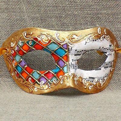 VENETIAN Masquerade Mask Colombina Mezza black handcrafted Made in Venice Italy