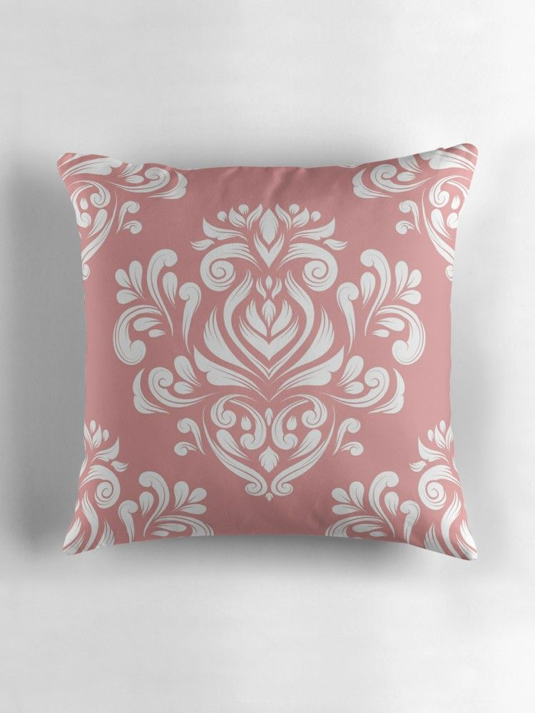Pink And White Damask Pattern Elegant Classic Texture Luxury Ornament Royal Victorian Baroque Elements Design 79 Throw Pillow By Annartlab