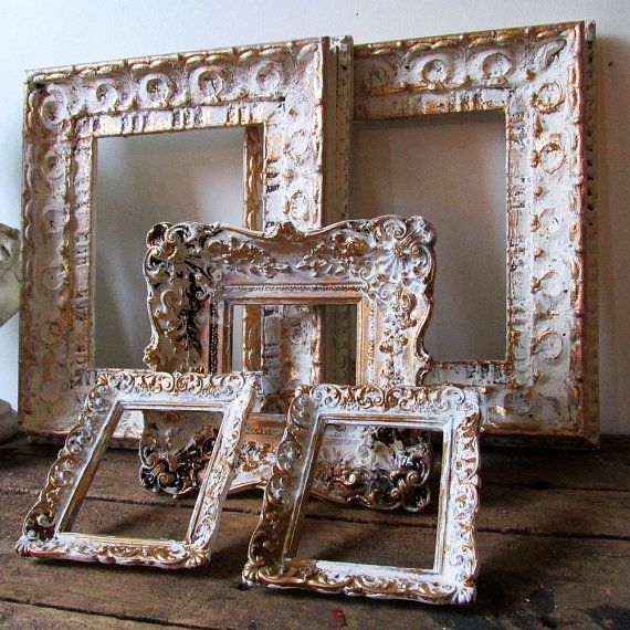 Distressed picture frame grouping white and gold farmhouse chic hand ...