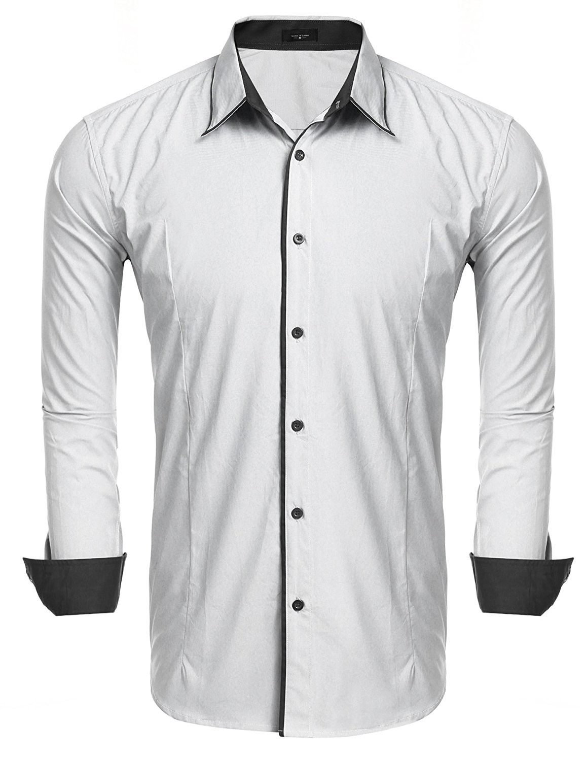 3b65438987e4 Men s Slim Fit Long Sleeve Oxford Shirt Business Casual Button Down Dress  Shirts - White - C4184K8NZY5