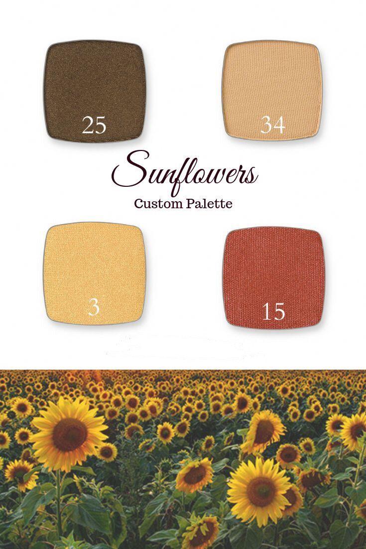 25, 34, 3, 15 Sunflower colors, Custom eyeshadow palette