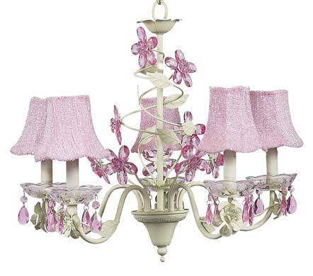 Beautiful pink and green chandelier with crystal flowers for a little girl's room!