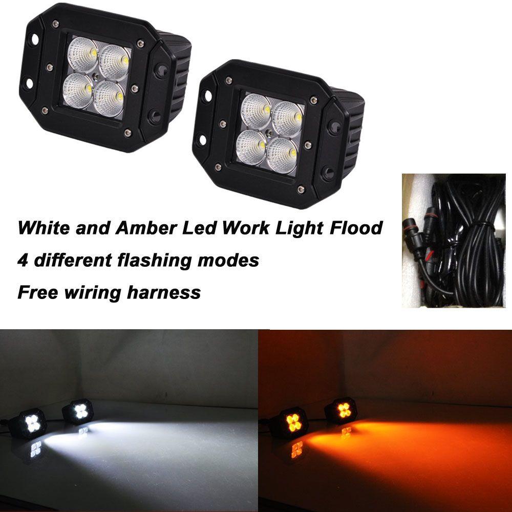 2pcs 4 inch flush mount amber white led work light 12v 9 flashing