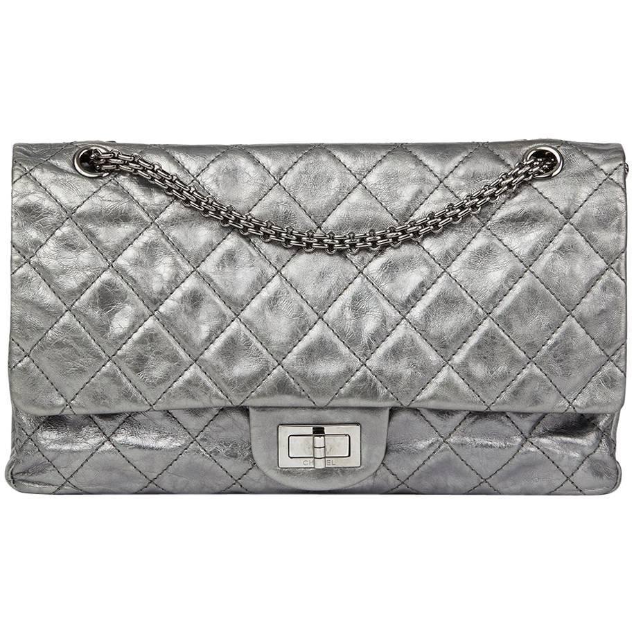 4aa51508ffb1 Chanel Silver Metallic Aged Calfskin 2.55 Reissue 227 Double Flap ...