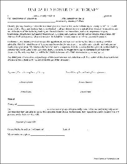 Free Basic Unlimited Power of Attorney from Formville - power of - rental agreement letter template