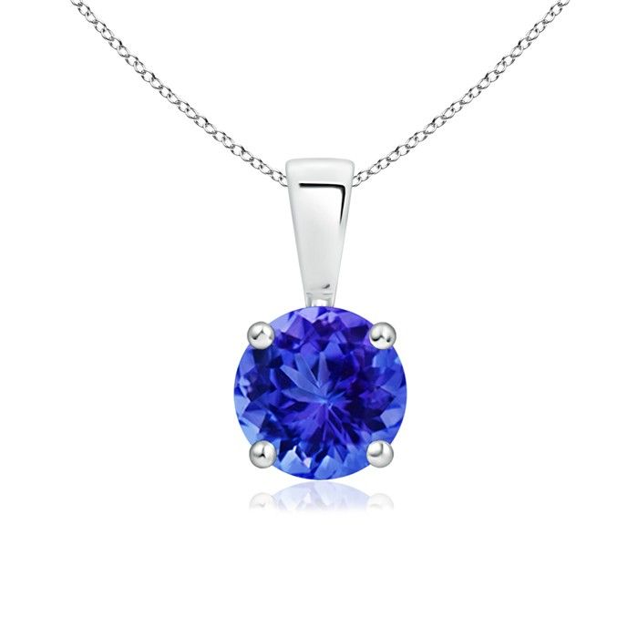 Angara Diamond Halo Tanzanite Drop Pendant Platinum