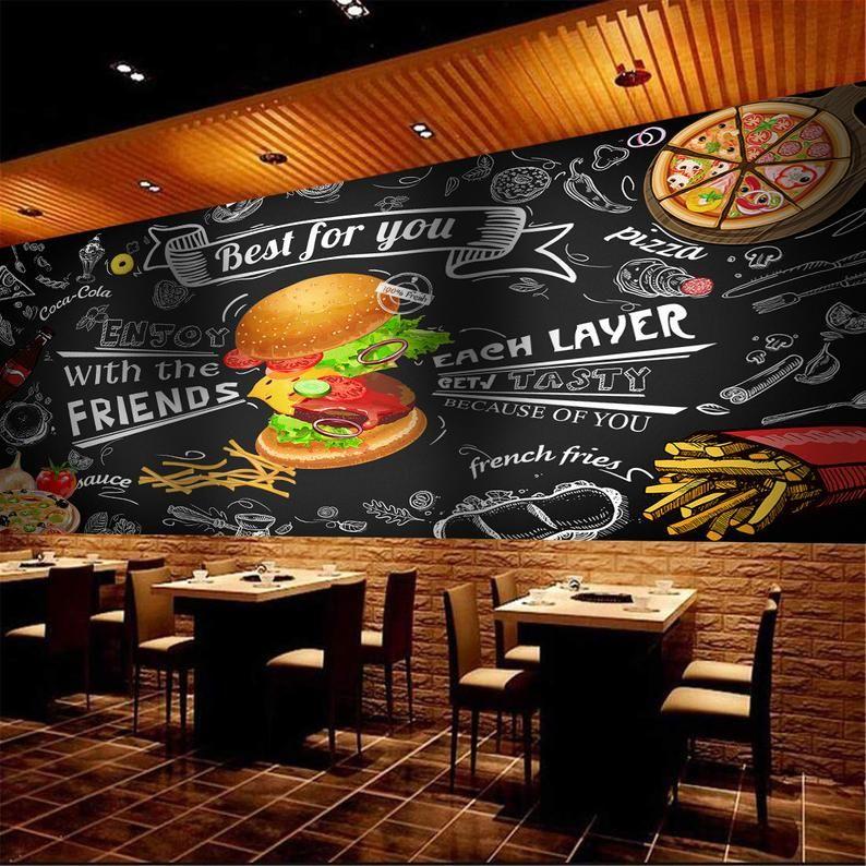 Fast Food Restaurant Wallpaper Cafe Wall Decor Hamburger Wall Etsy Restaurante De Comida Rapida Restaurante De Hamburguesas Restaurantes De Comida