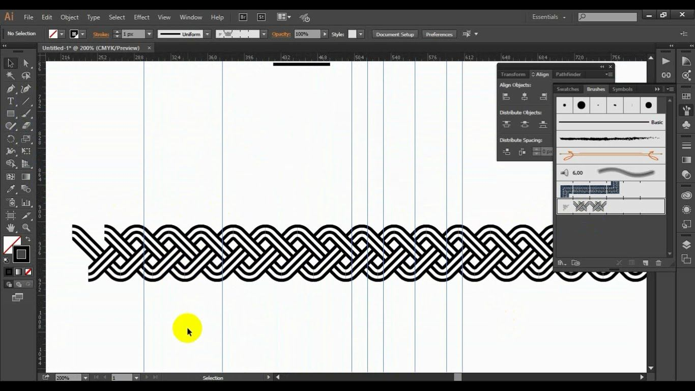 Illustrator pattern brush - linear ornament Part 1 (slow