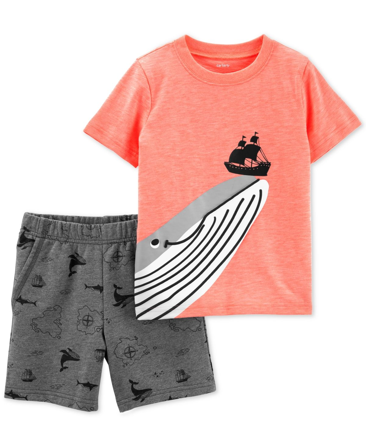 Toddler Baby Boy Clothes Shark Print Short Sleeve T-Shirt and Shorts Cotton 2PC Summer Outfit Set