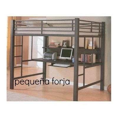 Cama Alta Loft Reforzada Cama Estudio De Hierro Escritorio ...