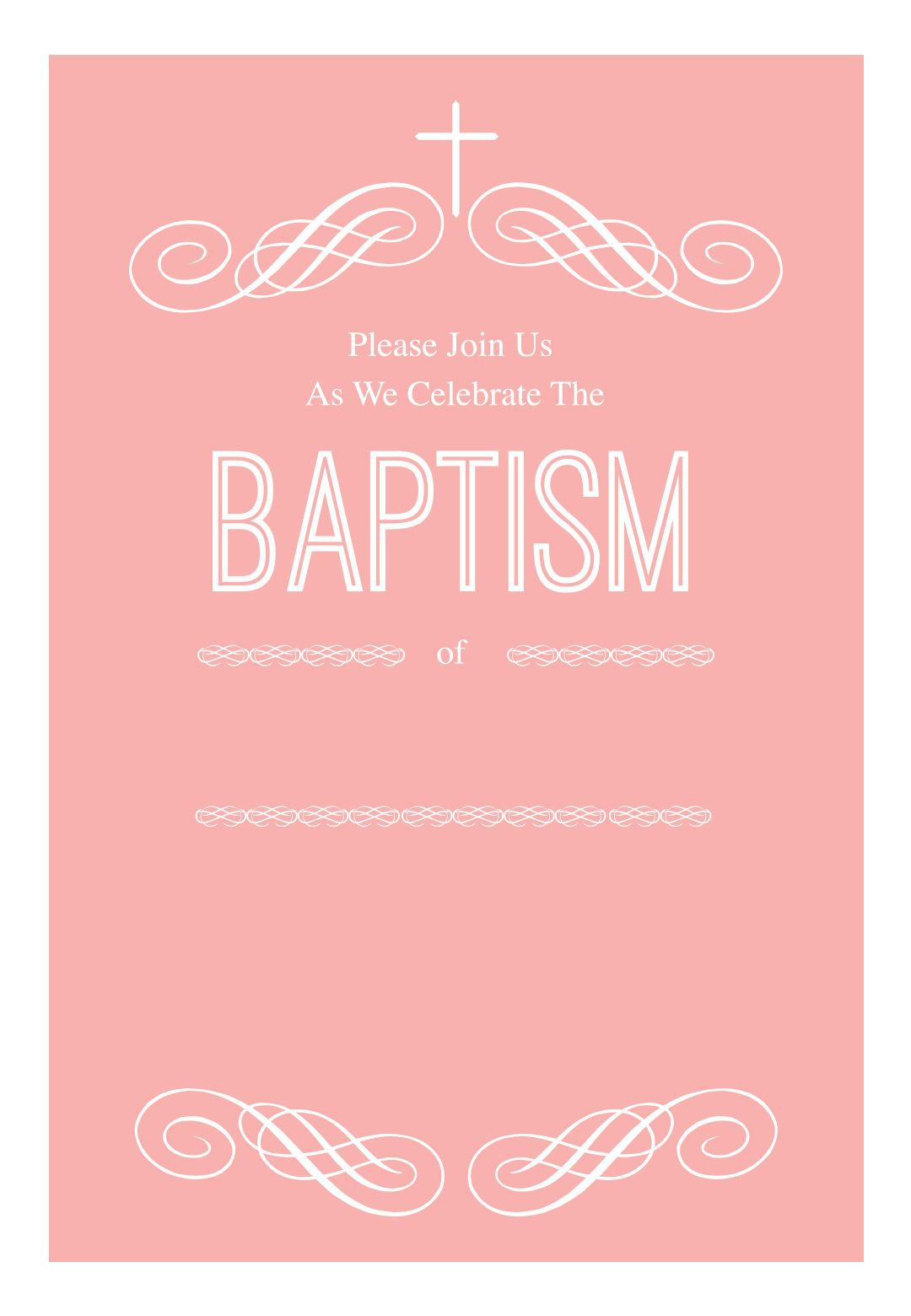 Pink Decorations Free Printable Baptism Christening Invitation