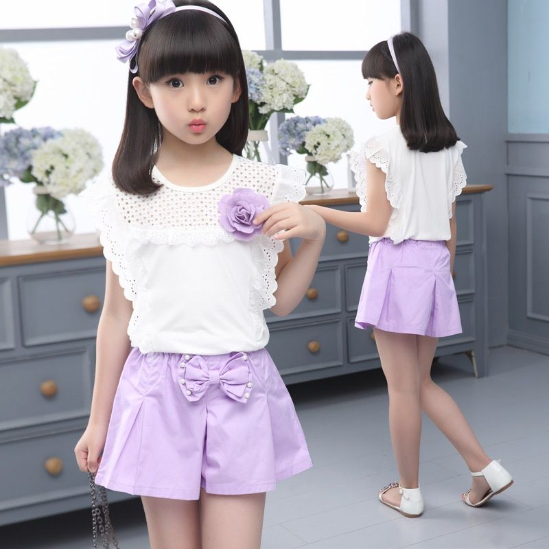fab407fcdfae 2017 Summer girl clothes dress Kids Sports suit Fashion children s ...