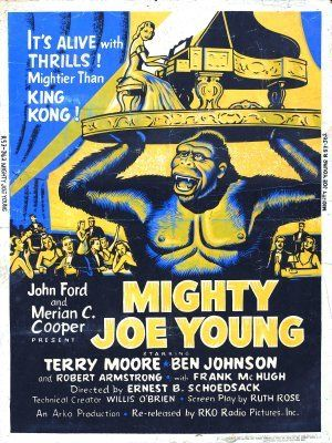 Mighty Joe Young movie poster (1949) - the man behind the original KIng Kong, Merriam Cooper, shrewdly hired Ray Harryhausen to work on his new new movie.