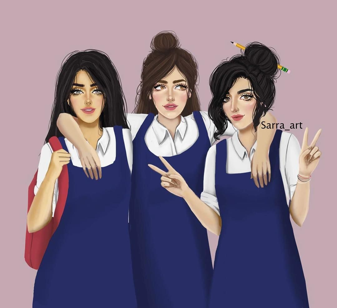 3 540 Likes 221 Comments Sara Ahmed Sarra Art On Instagram صديقاتي سأجعل ابنتي تبحث عن صديقات مثلكم تمام Girly M Drawings Of Friends Bff Drawings