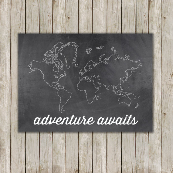 Adventure Awaits Print // Chalkboard Wall Print // Inspirational Wall Quote // 8x10 Art // Home Decor // Instant Digital Download